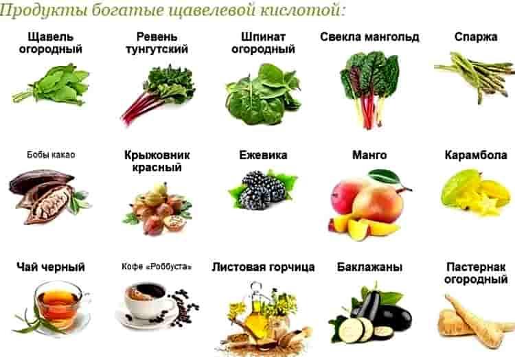 продукты с щавелевой кислотой